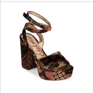 Sam Edelman velvet platform sandals heels Sz 9